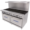 """Bakers Pride 60-BP-10B-S26 60""""W Ten Burner Restaurant Series Gas Ranges   60 inch Wide Stainless Steel Commercial Range with Two 26.5"""" Ovens and 10 Burners 480000 BTU"""