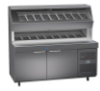 """Randell 8272D-290 Two Section Solid Door 14.4 cu ft 72""""W Stainless Steel Refrigerated Raised Condiment Double Rail Prep Tables 