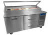 "Randell 8268N-290-PCB Two Section Solid Hinged Door 17.76 cu ft 68""W Stainless Steel Refrigerated Raised Condiment Narrow Rail Prep Tables 