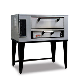 "Marsal SD-448 Single 1-Stacked One 7""H x 36"" x 48"" Baking Chamber Stainless Steel Commercial Gas Pizza Bake Ovens 