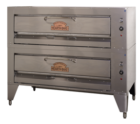 "Montague 25P-2 Double Legend Hearth Deck Stainless Steel Eight Burner Gas Pizza Ovens | with 60.5"" Wide Cordierite Decks, Two (2) 8"" High Bake Compartments and 8 Burners 320000 BTU"