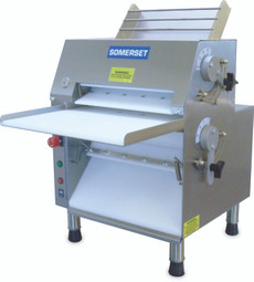 """Somerset CDR-1550M All-In-Front Electric Countertop Compact Dough Rollers  - Double Pass  / Front Operated Pizza Sheeters with 15"""" Metallic Rollers"""