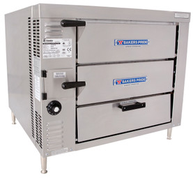 Bakers Pride GP51 Twin Door Double Deck HearthBake Series Countertop Gas Pizza / Pretzel Ovens | Stainless Steel Commercial Pizza Bake Ovens with Two Cordierite Hearth Decks, 2 Baking Chambers and Dual Bottom Hinged Doors 40000 BTU