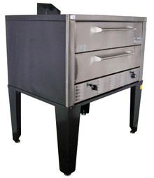 "Peerless CW61B Bake and Roast Gas Deck Ovens with Two 7"" High Deck and 42""W x 32""D Steel Deck Interior 