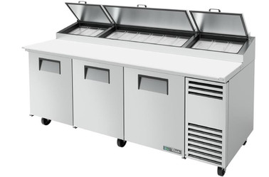 "True TPP-AT-93-HC - Three Solid Door 93""W Stainless Steel Pizza Prep Tables with Alternate Top 
