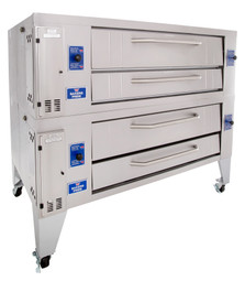 "Bakers Pride Y-602 Two 8"" Deck High Super Deck Series Stainless and Aluminized Steel Gas Pizza Bake Ovens 