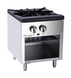 "Migali C-SPS-1-18 18""W Two Burner Natural Gas Stainless Steel Competitor Series Countertop Stock Pot Ranges 