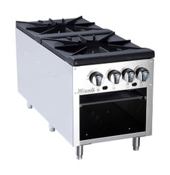 "Migali C-SPS-2-18 18""W Four Burner Natural Gas Stainless Steel Competitor Series Countertop Stock Pot Ranges 