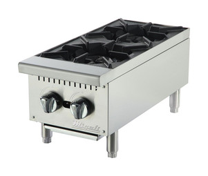 "Migali C-HP-2-12 Two Burner Natural Gas 12""W Stainless Steel Competitor Series Commercial Countertop Hotplates 