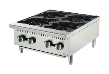 "Migali C-HP-4-24 Four Burner Natural Gas 24""W Stainless Steel Competitor Series Commercial Countertop Hotplates 