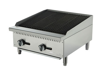 "Migali C-RB24 Two Burner Natural Gas 24 inch wide Stainless Steel Competitor Series Countertop Radiant Charbroilers | 24""W x 20""L Cooking Surface and 2 U shaped Burners 70,000 BTU"