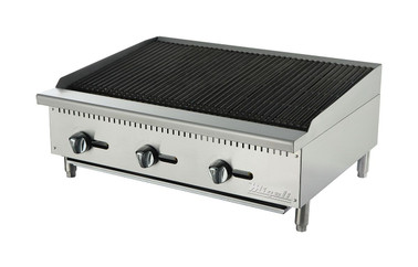 "Migali C-CR36 Three Burner Natural Gas 36 inch wide Stainless Steel Competitor Series Countertop Char-Rock Broilers | Charbroilers with Lava Rock Over Radiants, 36""W x 20""L Cooking Surface and 3 U shaped Burners 105,000 BTU"