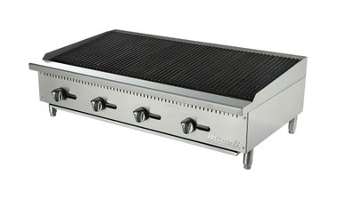 "Migali C-CR48 Four Burner Natural Gas 48 inch wide Stainless Steel Competitor Series Countertop Char-Rock Broilers |  Charbroilers with Lava Rock Over Radiants, 48""W x 20""L Cooking Surface and 4 U shaped Burners"