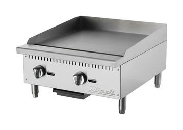 "Migali C-G24 Two Burner Natural Gas 24 inch wide Stainless Steel Competitor Series Countertop Griddles | with Manual Controls, 24""W x 20""L Cooking Surface and 2 U shaped Burners"