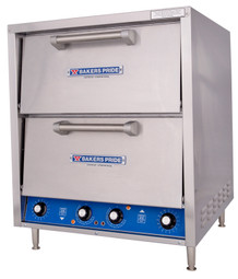 Bakers Pride P44S Double Door Four Deck HearthBake Series Countertop Electric Pizza / Pretzel Ovens | Stainless Steel Commercial Pizza Bake Ovens with 4 Cordierite Hearth Decks, Two Baking Chambers & 2 Doors