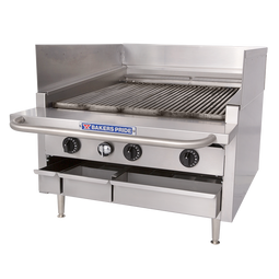 "Bakers Pride L-24R H-Burner Stainless Steel Dante Series Low Profile Countertop Gas Charbroilers | Commercial Char Broiler Grills with 21""W x 24""D Broiling Area and H Burners 90000 BTU"
