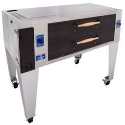 "Bakers Pride Y-600-DSP One 8"" Deck High Stainless Steel Super Deck Series Gas Display Pizza Bake Ovens 