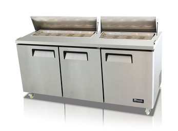 "Migali C-SP72-18-HC Three Section Solid Hinged Door Triple Shelf 24.5 cu ft 72.7""W Stainless Steel Competitor Series Rear Mounted Refrigerated Counter / Sandwich Prep Tables - 24.5 cubic feet 72.7 inch wide with 18 Pans Capacity, 3 Swing Doors, 3 Shelves and R290 Refrigerant"