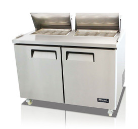 "Migali C-SP60-24BT-HC Two Section Solid Hinged Door Two Shelf 18.2 cu ft 60.2""W Stainless Steel Competitor Series Rear Mounted Refrigerated Counter / Big Top Sandwich Prep Tables - 18.2 cubic feet 60.2 inch wide with 24 Pans Capacity, 2 Swing Doors, 2 Shelves and R290 Refrigerant"