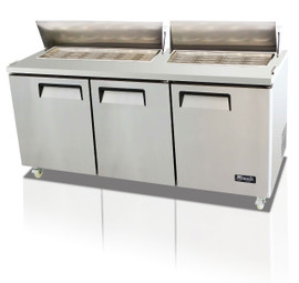 "Migali C-SP72-30BT-HC Three Section Solid Hinged Door Three Shelf 24.5 cu ft 72.7""W Stainless Steel Competitor Series Rear Mounted Refrigerated Counter / Big Top Sandwich Prep Tables - 24.5 cubic feet 72.7 inch wide with 30 Pans Capacity, 3 Swing Doors, 3 Shelves and R290 Refrigerant"