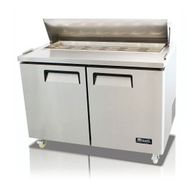 "Migali C-SP48-12-HC Two Section Solid Hinged Door 12 cu ft 48.2""W Stainless Steel Competitor Series Rear Mounted Refrigerated Counter / Sandwich Prep Tables - 12 cubic feet 48.2 inch wide with 12 Pans Capacity 2 Swing Doors and R290 Refrigerant"