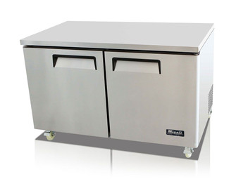 "Migali C-U60R-HC Two Section Solid Hinged Door 2 Shelf 18.2 cu ft 60.2""W Stainless Steel Competitor Series Rear Mounted Reach-In Under-Counter and Work top Refrigerators 