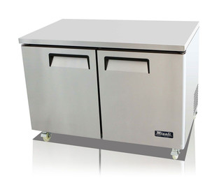 "Migali C-U48F-HC Two Section Solid Hinged Door 2 Shelf 12 cu ft 48.2""W Stainless Steel Competitor Series Rear Mounted Reach-In Under-Counter and Work top Freezers 