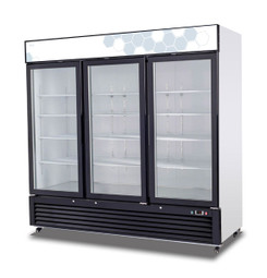 "Migali C-72RM-HC Three Section Hinged Glass Door Twelve Shelf 72 cu ft 82""W White Coated Steel Competitor Series Bottom Mounted Reach-In Refrigerator Merchandisers - 72 cubic feet 82 inch wide Merchandising Refrigerators with 3 Dual Pane Swing Doors, 12 Shelves and R290 Refrigerant"