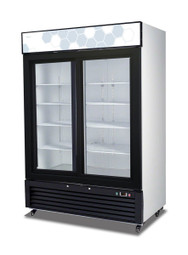 "Migali C-49RS-HC Two Section Sliding Glass Door Eight Shelf 49 cu ft 54.4""W White Coated Steel Competitor Series Bottom Mounted Reach-In Refrigerator Merchandisers- 49 cubic feet 54.4 inch wide Merchandising Refrigerators with 2 Dual Pane Doors, 8 Shelves and R290 Refrigerant"