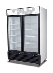 "Migali C-49FM-HC Two Section Hinged Glass Door 49 cu ft 54.4""W White Coated Steel Reach-In Freezer Merchandisers 