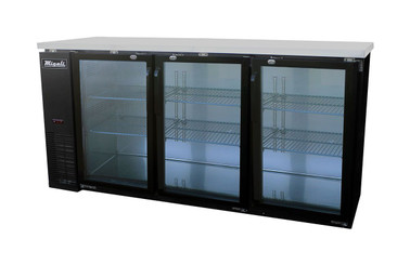 "Migali C-BB72G-HC Three Section Hinged Glass Door Six Shelf 19.6 cu ft 72.8""W Black Steel Competitor Series Side Mounted Refrigerated Back Bar Storage Cabinets 