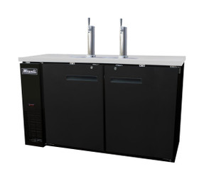 "Migali C-DD60-2-HC Two Section Solid Hinged Door 2 Keg 15.8 cu ft 60.8""W Black Steel Competitor Series Side Mounted Direct Draw Beer Coolers 