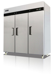 Migali C-3R-HC Competitor Series 3 Section Solid Door 9 Shelf 72 cu ft Stainless Steel Reach-In Top Mount Refrigerator
