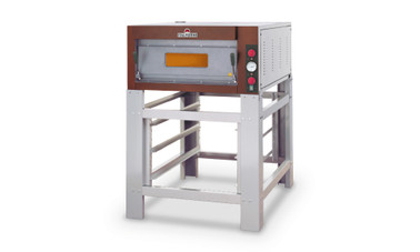 "ItalForni TKB One or Two Deck Compact Electric Pizza Ovens | Single or Double Deck Stainless / Rustic Bake Ovens with 26""W x 39""D x 6""H Deck, 6 (12"") Pizza Capacity & (2) 18"" x 26"" Pan Capacity Per Oven"