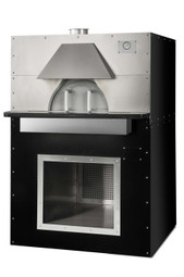 "Earthstone Cafe-PAGW Pre-Assembled Gas / Wood Fired Commercial Pizza Ovens with Pierre de Boulanger | Oven with Bakers Tiles, 3 (8"") Pizza Capacity, 35 inch Cooking Diameter and 20""W x 9.5""H Single Oven Entrance 90000 BTU"