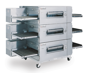 "Lincoln 1600-000-U Single, Double or Triple Deck Impinger Low Profile Natural Gas Conveyor Pizza Ovens with 40"" Baking Chamber and 32 inch Wide Conveyor Belt Per Oven 120V 