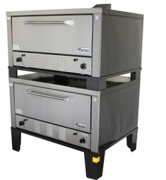 """Peerless CW52B Bake Gas Deck Ovens with Two 12"""" High Decks and 42""""W x 32""""D Steel Deck Interior 