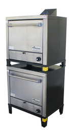 "Peerless C231P Two Section 2 Solid Door 8 Shelf Counter Model Stainless Steel Gas Pizza Ovens | Commercial Double-Stacked Countertop Ovens with Eight 24""W x 19""D Pizza Stones, 8 Shelves and Dual Doors (2) 30000 BTU"