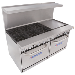 """Bakers Pride 60-BP-6B-RG24-S26 60""""W Six Burner Restaurant Series Gas Ranges   60 inch Wide Stainless Steel Commercial Range with Two 26.5"""" Ovens, One 24"""" Raised Griddle and 6 Burners 360000 BTU"""