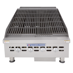 "Bakers Pride BPHCB-2424i Four Radiant Heavy Duty Stainless Steel Countertop Gas Charbroilers | Char Broiler Grills with 24""W x 21.5""D Broiling Area and 4 Cast-Iron Radiants 80000 BTU"