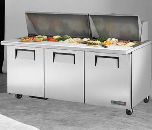 "True TSSU-72-30M-B-ST-HC Three Solid Door 72"" Stainless Steel Mega Top Sandwich / Salad Prep Tables | 72 inch Salad/Prep Tables with 3 Full Doors, 6 Shelves and R290 Refrigerant"