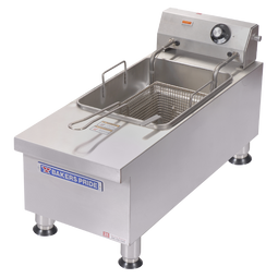 Bakers Pride BPHEF-15Si HD Cookline Single Vat 15 lb Oil Capacity Countertop Electric Fryers | Stainless Steel Commercial Fryer with 15 pound Oil Capacity, One Half Size Fry Basket and Lift-Out Tank