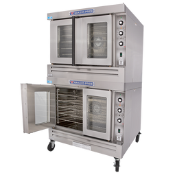 Bakers Pride GDCO-G2 Full Size Two (2) Deck Stainless Steel Cyclone Series Gas Convection Ovens | Double-Stacked Pizza Ovens with Thermal Glass, Synchronized Doors & Energy Star 120000 BTU