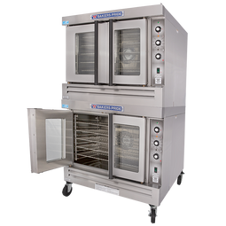 Bakers Pride BCO-G2 Full Size Double Deck Stainless Steel Cyclone Series Gas Convection Ovens | Two (2) Stack Ovens with Thermal Glass & Independent Doors 120000 BTU