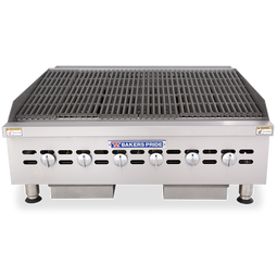 "Bakers Pride BPHCB-2436i Six Radiant Heavy Duty Stainless Steel Countertop Gas Charbroilers | Char Broiler Grills with 36""W x 21.5""D Broiling Area and 6 Cast-Iron Radiants 120000 BTU"