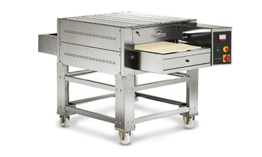 "ItalForni TSB Single or Double Stacked Electric Tunnel Stone Conveyor Pizza Ovens | One or Two Stacked Stainless Countertop Bake Ovens with 24"" Belt Width, 45"" Chamber Length and Reversible Conveyor Per Oven"