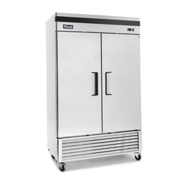 "Migali C-2RB-HC - Two Section Solid Hinged Door 49 cu ft 54.4""W Stainless Steel Competitor Series Bottom Mounted Reach-In Refrigerators 