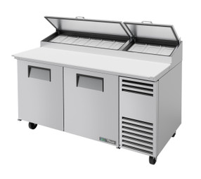 "True TPP-AT-67-HC - Two Solid Door 67""W Stainless Steel Pizza Prep Tables with Alternate Top 