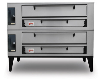 "Marsal SD-1060 Stacked Two 10""H x 36"" x 60"" Baking Chambers Commercial Double Deck Gas Pizza Ovens 