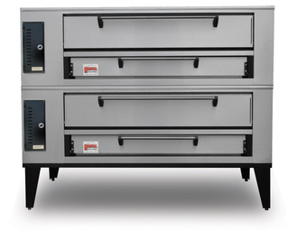 "Marsal SD-1048 Stacked Two 10""H x 36"" x 48"" Baking Chambers Stainless Steel Commercial Gas Double Deck Pizza Bake Ovens 